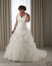 Plus Size White/Ivory V-neck Train Organza Wedding dress Formal Bridal Ball gown