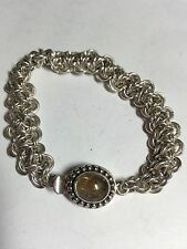 Sterling Silver handmade circle link military bracelet rutilated Quartz Clasp