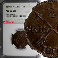 Sweden Gustaf Iv Adolf Copper 1805 1/4 Skilling Ngc Ms63 Bn Nice Coin Km# 564