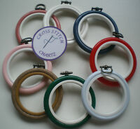 """2.5"""" Round Flexi Hoop 8 COLOURS Red Blue Pink Wood Cross Stitch Embroidery Frame"""