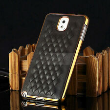 Black Designer Leather Chrome Hard Case Cover For Samsung Galaxy Note 3 N9000