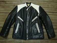 1970s VINTAGE STEERHIDE CAFE RACER TUTONE MOTORCYCLE JACKET by BRIMACO CANADA