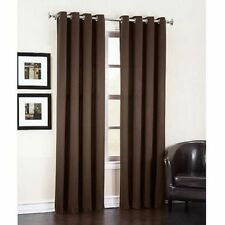 2 PANEL COFFEE SOLID THERMAL 100% BLACKOUT GROMMET WINDOW CURTAIN LINED SYLV
