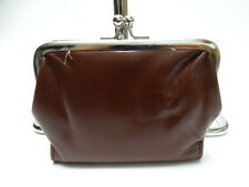 NWT LATICO Small Clutch Brown Leather W/Kiss Lock &2 Paper Mony Pockets