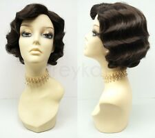 Dark Brown Finger Waves Wig Short 1920s Gatsby Retro Costume Vintage Flapper