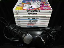 NINTENDO WII LOT 8 GAME + 2 MICROPHONE JUST DANCE 1-2-3-4 2016 SUMMER PARTY