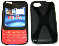 TPU Rubber Pattern Gel Soft Case Pouch Protector Cover BLACK For Blackberry Q5