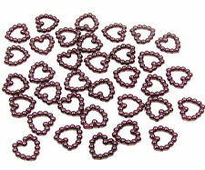 200 BURGUNDY PEARL HEART SHAPED DOUBLE SIDED 11MM TABLE DECORATION SCATTER BEADS
