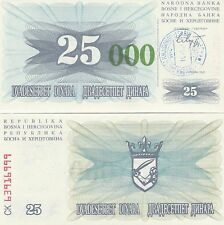 Bosnia  P54e, 25,000 Dinara UNC- Emergency Issue, hand stamped - Sarajevo $7+ CV