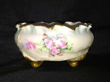 Antique Limoges Hand Painted Porcelain Gold Footed Bowl Dish Ruffled Gold Edge