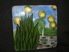 VINTAGE HAND PAINTED PORCELAIN TILE REPRO VINCENT Van GOGH STARRY NIGHT TRIVET