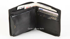Mens Black REAL LEATHER Zipped Wallet Soft Genuine Leather Zip Around Wallet