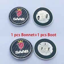 68mm SAAB 2x Saab 9-3 9-5 93 95 Carbon Fiber Front Hood Boot Bonnet Emblem Badge