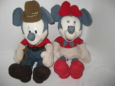 "Disney Mickey and Minnie Mouse Cowboy Grey Ears Plush 15"" stuffed Cowgirl"