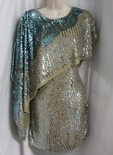 """ALBERTO MAKALI"" TEAL OMBRE COCKTAIL MINI FULL SEQUINED DRESS SIZE: 2 NWT"