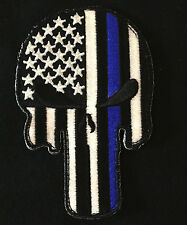 PUNISHER SKULL THIN BLUE LINE USA FLAG POLICE SWAT GLOW GITD HOOK PATCH