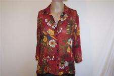 Chicos size 1 shirt blouse 100% silk sheer floral 3/4 bell sleeves womens S 8/10
