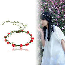 Flower Headband Garland Crown Festival Wedding Hair Wreath Red Floral Headband