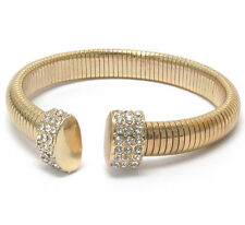 Statement Gold Crystal Flexible Snake Chain Bracelet Bangle By Rocks Boutique