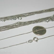 "30 pcs 16"" 18"" 20"" Rhodium Plated Sterling Silver 925 Box 015 Chain Necklaces"