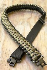 Adjustable Paracord Rifle Gun Sling Strap With Swivels Multi Camo & Black