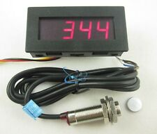 4 Digital Red LED Tachometer RPM Speed Meter+Hall Proximity Switch Sensor NPN