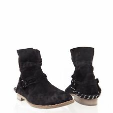 Paul Green Harness Chain Women's Shoes Black Suede Ankle Boots Sz 6 M, UK 3.5