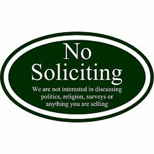 "No Soliciting Sign Aluminum Metal 12"" x 7"" Green And White Oval Sign"