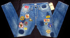 MENS TRUE RELIGION WELL TRAVELED PATCHWORK BUTTON FLY DENIM JEANS SIZE 32
