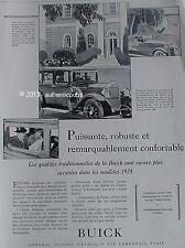 PUBLICITE AUTOMOBILE BUICK PUISSANTE ROBUSTE CONFORTABLE DE 1928 FRENCH AD CAR
