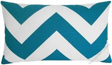 Deep Aqua Blue/White Chevron ZigZag decorative throw pillow/cushion cover 12x20""