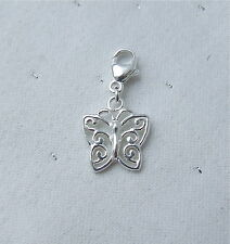 BEAUTIFUL BUTTERFLY ON CLASP CLIP CHARM 925 CHARMS STERLING SILVER