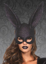 Womens Gothic Black Glitter Rabbit Eyemask