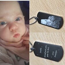 PERSONALISED DOG TAG ENGRAVED WITH PHOTOGRAPH AND TEXT - FATHERS DAY