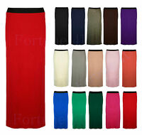 Ladies Gypsy Long Jersey Maxi Dress Skirt Womens Gypsy Bodycon Skirt Size 8-26