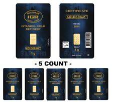 Lot of 5 - 1 gram Istanbul Gold Refinery (IGR) Bar .9999 Fine (In Assay Card)