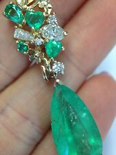 Bright! 8CT Colombian Emerald 14K Yellow Gold and Diamond Drop Pendant