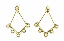 Gold Vermeil diamond shaped CHANDELIER earring parts connectors , 1 PAIR