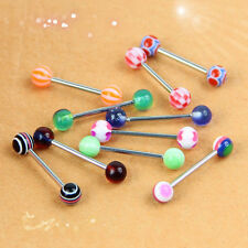 10 PCS New Tongue Ring Ear Rings Bars Barbell Body Piercing Jewelry