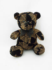 """Adorable Black Bear w/Spider Web Gold Design by Toy Factory-9"""" Plush Toy"""