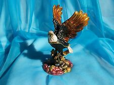 SWAROVSKI CRYSTAL BEJEWELED ENAMELED HINGED TRINKET BOX -OPEN WINGED BALD EAGLE