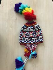 PERUVIAN CHULLO HAT WITH BEADS MULTICOLOURED RAVE FESTIVAL  HAND MADE ^18