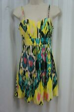 Material Girl Dress Sz S Yellow Multi Ikat Print Rayon Cut-Out Casual Cocktail
