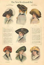 Ladies' Fashions, New Rembrandt Hat, Girl's Everyday Hat 1909 Antique Art Print.
