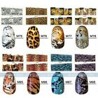 Nail Decals Full WRAPS leopard Tiger Print Black Animal Water Transfer Stickers