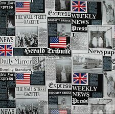 BonEful Fabric FQ Cotton Quilt VTG Block London UK Flag British USA Newspaper US