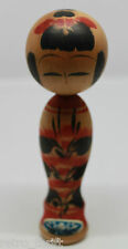 """Japanese Traditional Wooden Kokeshi Doll Girl Signed 15cm 5 7/8"""" Tall Japan"""