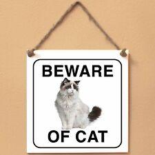 Ragdoll 1 Beware of cat Targa gatto cartello ceramic tiles