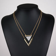 Women Charm Double Layers Triangle Stone V-Shape Pendant Gold Chain Necklace