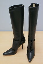 Jimmy Choo Black Leather Boots Size 40.5, UK 7.5 Unworn